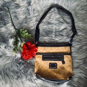 Nine West retro patterned leather crossbody bag
